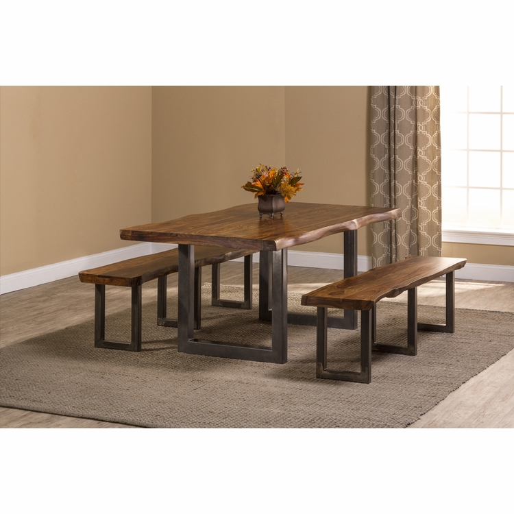 Hillsdale - Emerson 3-Piece Rectangle Dining Set with Two (2) Benches - Natural Sheesham - 5674DTB