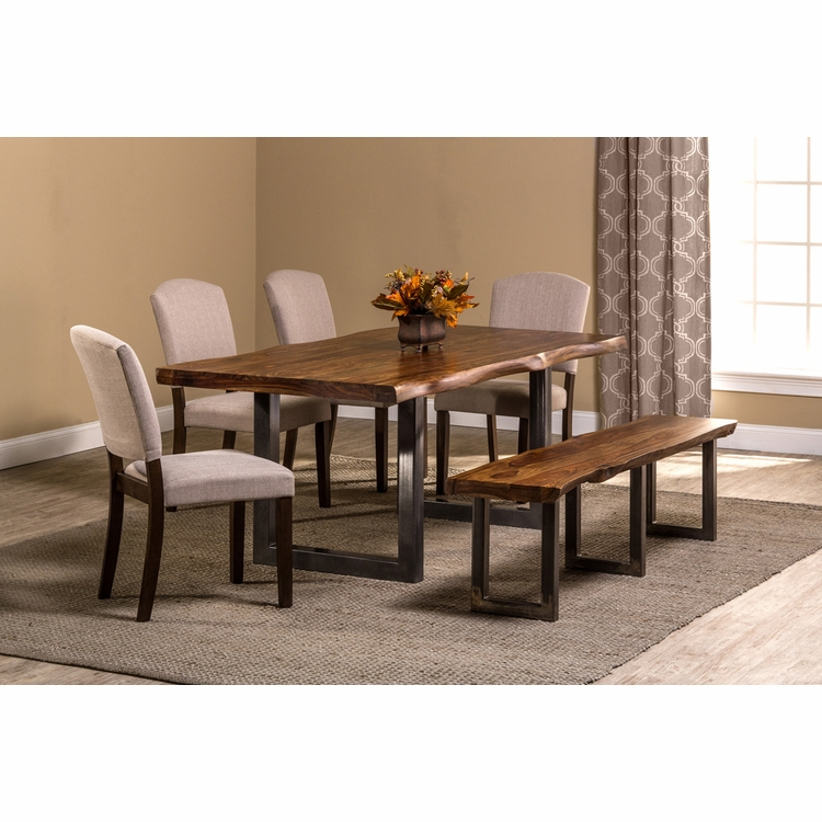 Hillsdale - Emerson 6-Piece Rectangle Dining Set with One (1) Bench and Four (4) Chairs - Natural Sheesham - 5674DTBHC