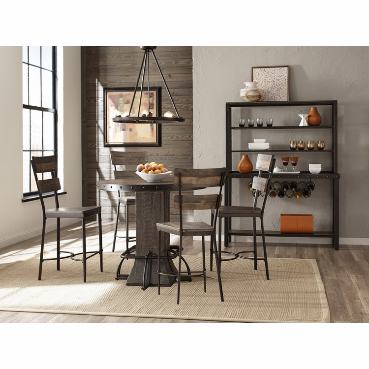 Hillsdale - Jennings 5-Piece Round Counter Height Dining Set with Non-Swivel Counter Stools - 4022CDT5PC