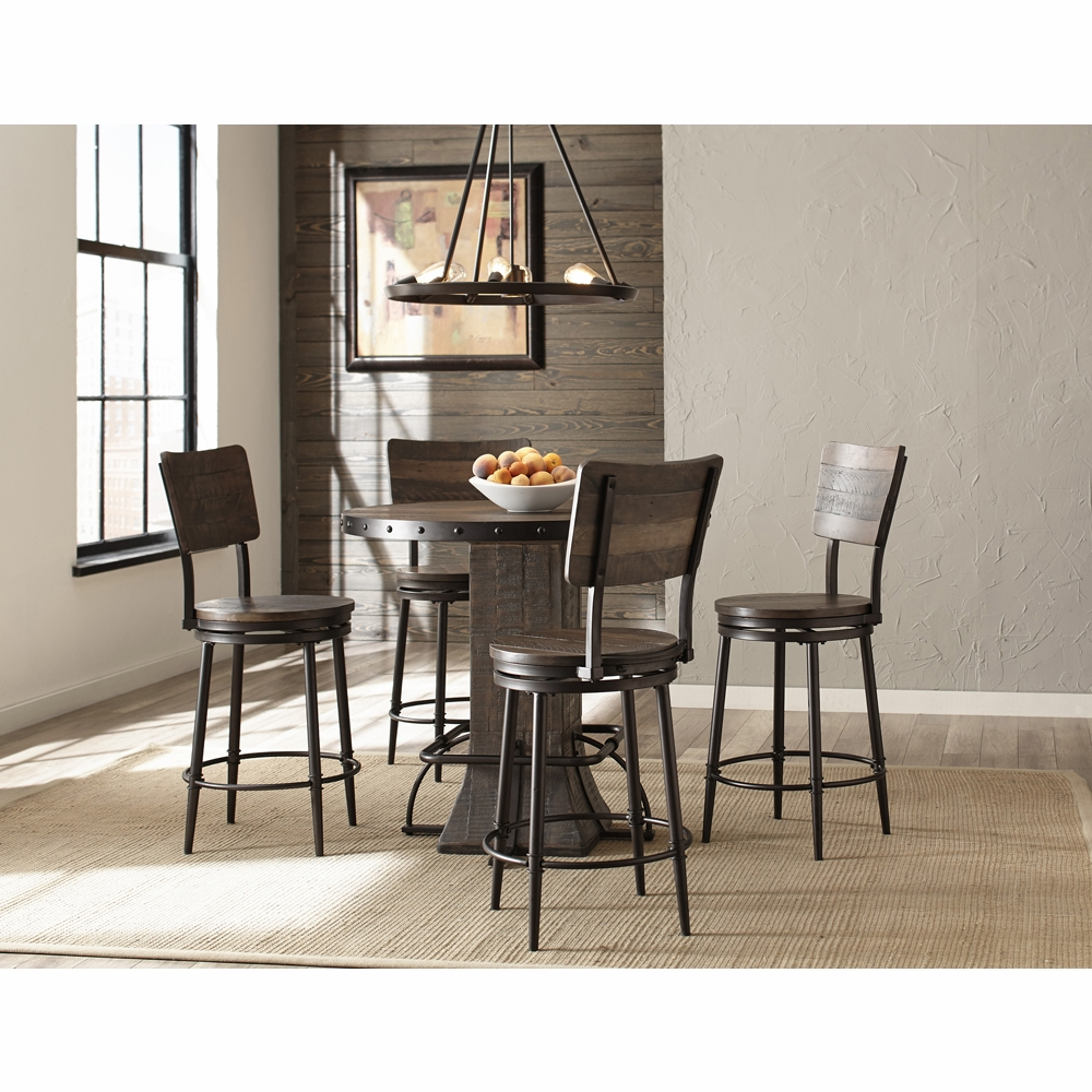 Hillsdale Jennings 5 Piece Round Counter Height Dining Set With Swivel Counter Stools 4022cdts5pc