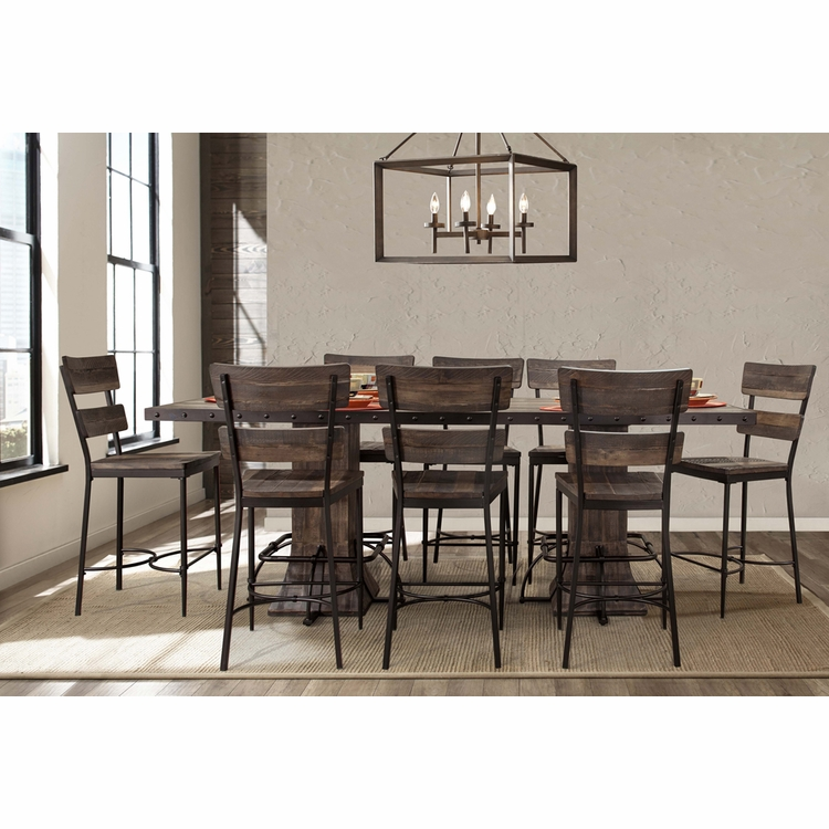 Hillsdale - Jennings 9-Piece Rectangle Counter Height Dining Set with Non-Swivel Counter Stools - 4022CDTS9PC