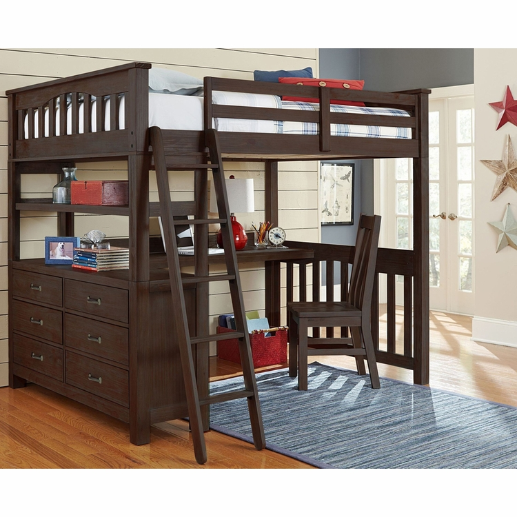 Hillsdale Kids - Highlands Full Loft Bed W/ Desk And Chair Espresso - 11080NDC