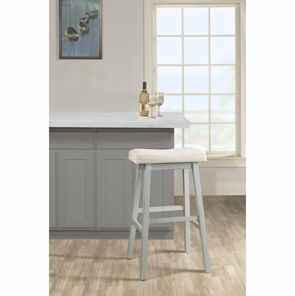 By Hilale Furniture Moreno Non Swivel Backless Counter Stool Blue Gray