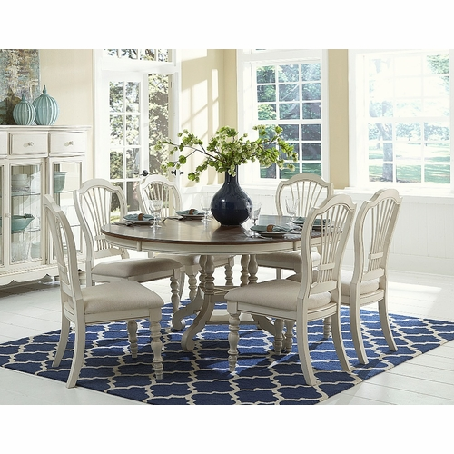 Hillsdale - Pine Island 7Pc Round Dining Set With Wheat Back Chairs - 5265DTBCW7