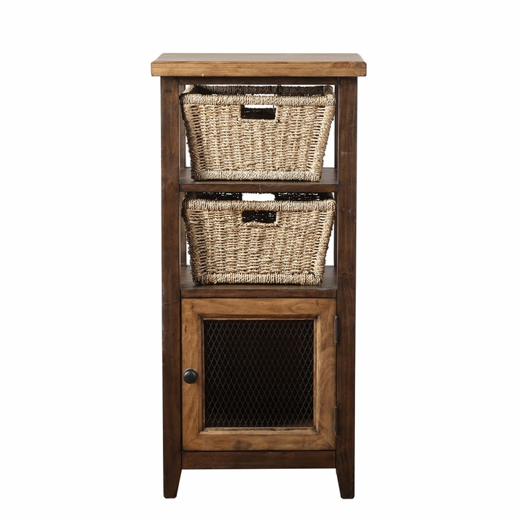 Hillsdale - Tuscan Retreat Basket Stand With Two Baskets Café Sua Two Tone Wood - 4273-2019