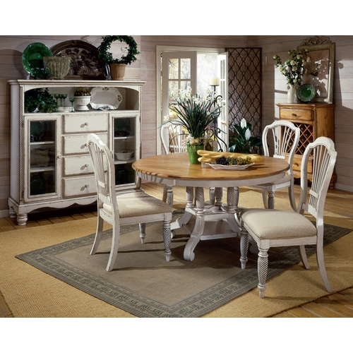 Hillsdale - Wilshire 5-Piece Round Dining Set With Side Chairs In Antique White - 4508DTBRNDC5