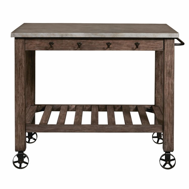 Home Fare - Distressed Metal Wrapped Industrial Kitchen Island - DS-D153-800