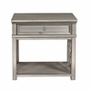 Home Fare - Mirrored Front Leg Nightstand with Silver Leaf Overlays - DS-D199-201