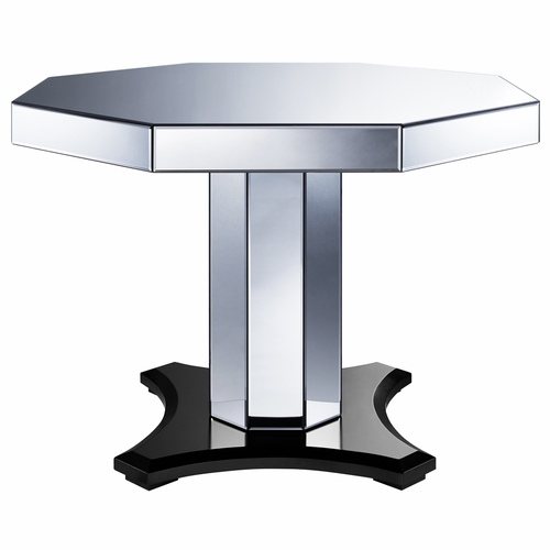 Home Fare - Mirrored Octagon Pedestal Table with 4 Chairs - DS-D114-DR-K2
