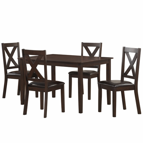 Home Fare - Traditional Style Dark Brown 5-Piece Dining Set - DS-D186-130