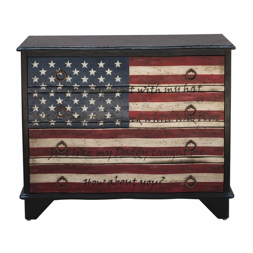 Home Fare - Traditional Styled American Flag Four Drawer Accent Storage Chest with Eric Church Lyrics - DS-D153-017