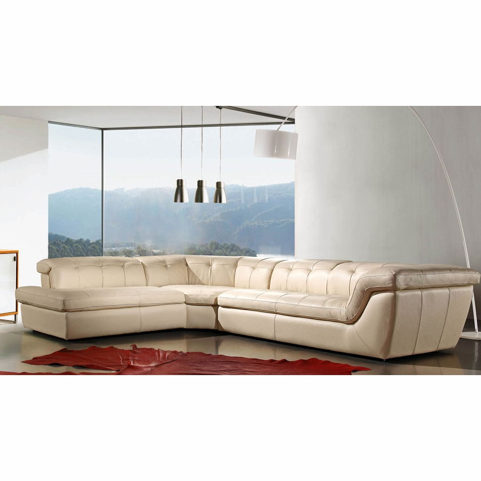 J&M Furniture - 397 Italian Leather Sectional Beige Color In Left Hand  Facing - 17544291-LHFC