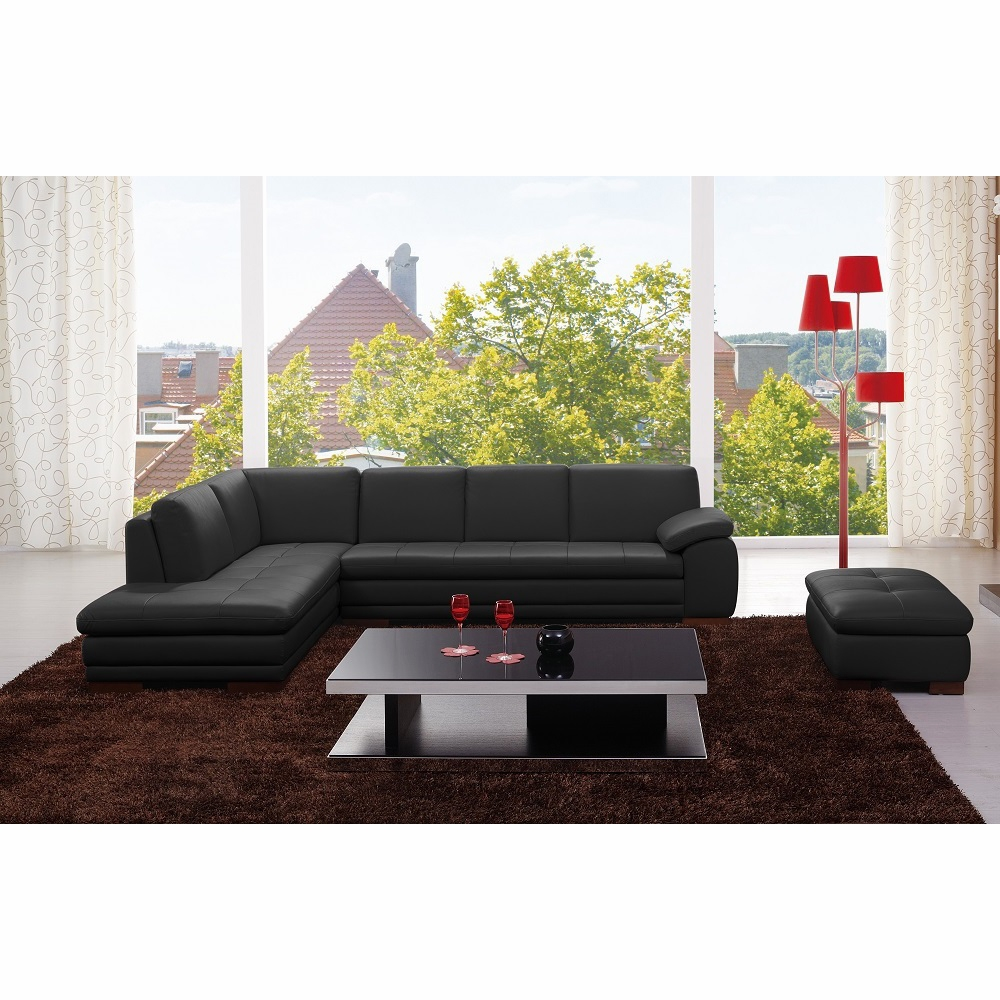 J&M Furniture - 625 Italian Leather Ottoman and Left Hand Facing Sectional  in Black