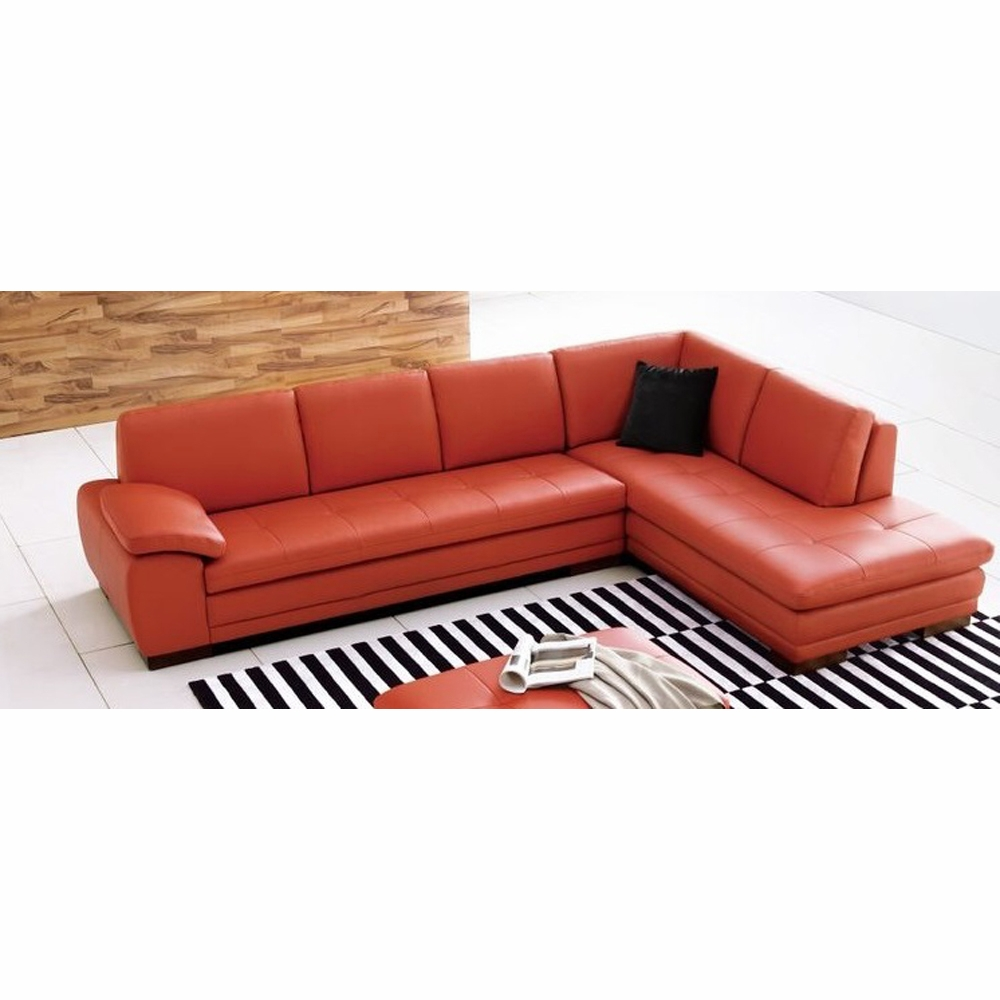 J&M Furniture - 625 Italian Leather Sectional Pumpkin in Right Hand Facing  - 175443111-RHFC-PK