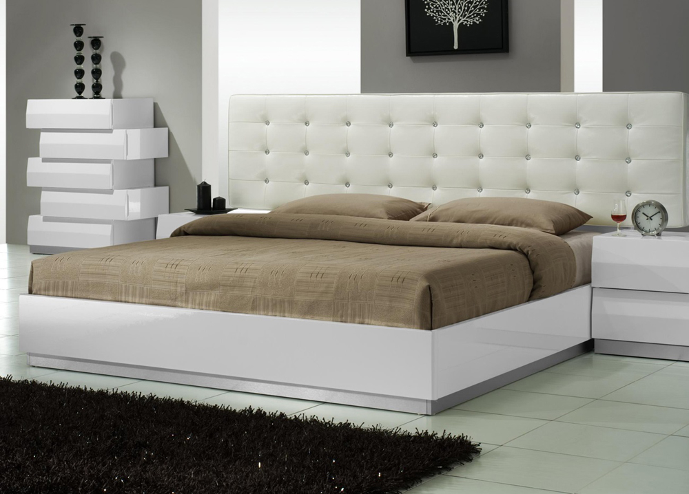 J M Furniture Milan King Size Bed In White 17687 K
