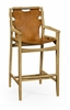 Jonathan Charles Fine Furniture - Architects House Midcentury Style Slung Leather and Light Oak Bar Stool - 495098-LWO