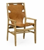Jonathan Charles Fine Furniture - Architects House Midcentury Style Slung Medium Chestnut Leather and Light Oak Armchair - 495097-AC-LWO