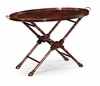 Jonathan Charles Fine Furniture - Buckingham Oval Mahogany Tray On Stand with Floral inlay - 493294-MAH