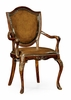 Jonathan Charles Fine Furniture - Buckingham Shield Back Mahogany Armchair with Medium Chestnut Leather (Set of 2) - 492646-AC-MAH-L002
