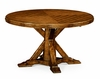 "Jonathan Charles Fine Furniture - Casually Country 53"" Walnut Parquet Round-To-Oval Dining Table - 491068-53D-CFW"