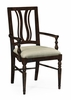 Jonathan Charles Fine Furniture - Casually Country Dark Ale Curved Back Dining Armchair Upholstered in Mazo (Set of 2) - 491102-AC-PDA-F001