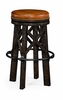 Jonathan Charles Fine Furniture - Casually Country Style Dark Ale and Iron Bar Stool with Antique Chestnut Leather - 491071-PDA