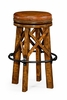 Jonathan Charles Fine Furniture - Casually Country Style Walnut and Iron Bar Stool with Antique Chestnut Leather - 491071-CFW