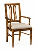 Jonathan Charles Fine Furniture - Casually Country Walnut Curved Back Armchair Upholstered Seat in Mazo (Set of 2) - 491102-AC-CFW-F001
