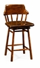 Jonathan Charles Fine Furniture - Country Farmhouse Country Style Leather Bar and Counter Stools in Medium Walnut - 493095-CS-WAL-L002