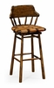 Jonathan Charles Fine Furniture - Country Farmhouse Country Style Leather Bar and Counter Stools in Walnut - 493095-BS-WAL-L002