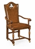 """Jonathan Charles Fine Furniture - Country Farmhouse High Back Playing Card """"Club"""" Armchair with Medium Chestnut Leather - 493387-AC-WAL-L002"""