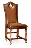 """Jonathan Charles Fine Furniture - Country Farmhouse High Back Playing Card """"Club"""" Side Chair with Medium Chestnut Leather - 493387-SC-WAL-L002"""
