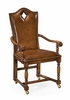 """Jonathan Charles Fine Furniture - Country Farmhouse High Back Playing Card """"Diamond"""" Armchair with Medium Chestnut Leather - 493385-AC-WAL-L002"""