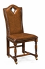 """Jonathan Charles Fine Furniture - Country Farmhouse High Back Playing Card """"Diamond"""" Side Chair with Medium Chestnut Leather - 493385-SC-WAL-L002"""