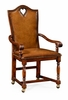 """Jonathan Charles Fine Furniture - Country Farmhouse High Back Playing Card """"Heart"""" Armchair with Medium Chestnut Leather - 493383-AC-WAL-L002"""