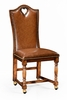 """Jonathan Charles Fine Furniture - Country Farmhouse High Back Playing Card """"Heart"""" Side Chair with Medium Chestnut Leather - 493383-SC-WAL-L002"""