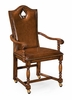 """Jonathan Charles Fine Furniture - Country Farmhouse High Back Playing Card """"Spade"""" Armchair with Medium Chestnut Leather - 493389-AC-WAL-L002"""