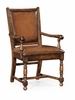 Jonathan Charles Fine Furniture - Country Farmhouse Walnut Armchair Medium Chestnut Leather Upholstery (Set of 2) - 493323-AC-WAL-L002