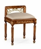 Jonathan Charles Fine Furniture - Duchess Burl and Mother of Pearl Dressing Stool Upholstered in Mazo - 499183-BRW-F001