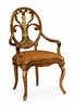 Jonathan Charles Fine Furniture - Duchess Carving Oval Back Armchair Leather Seat (Set of 2) - 498088-AC-BRW-L011