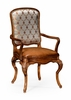 Jonathan Charles Fine Furniture - Duchess Walnut Armchair with Dv Medium Chestnut Leather Seat and Fabric Back (Set of 2) - 499179-AC-BRW-L011