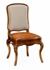 Jonathan Charles Fine Furniture - Duchess Walnut Side Chair with Dv Medium Chestnut Leather Seat and Fabric Back (Set of 2) - 499179-SC-BRW-L011
