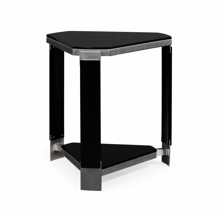Jonathan Charles Fine Furniture Indochine Triangular Black Gloss Side Table 500167 Blg
