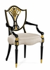 Jonathan Charles Fine Furniture - Kensington Sheraton Dining Armchair with Shield Back in Painted Black and Gilded Details Upholstered in Mazo (Set of 2) - 495819-AC-EBF-F001