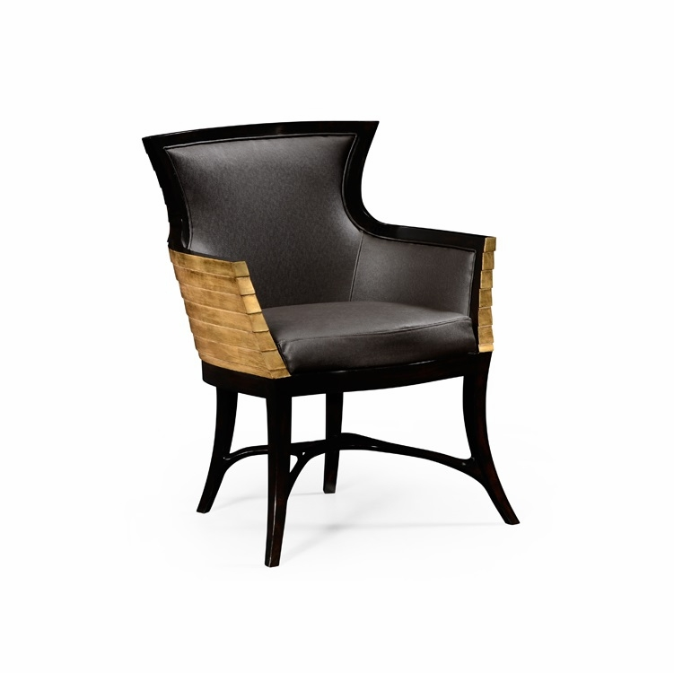 Incredible Jonathan Charles Fine Furniture Luxe Stepped Gilded Tub Easy Chair Upholstered In Dark Chocolate Leather 494572 Ebf L017 Inzonedesignstudio Interior Chair Design Inzonedesignstudiocom