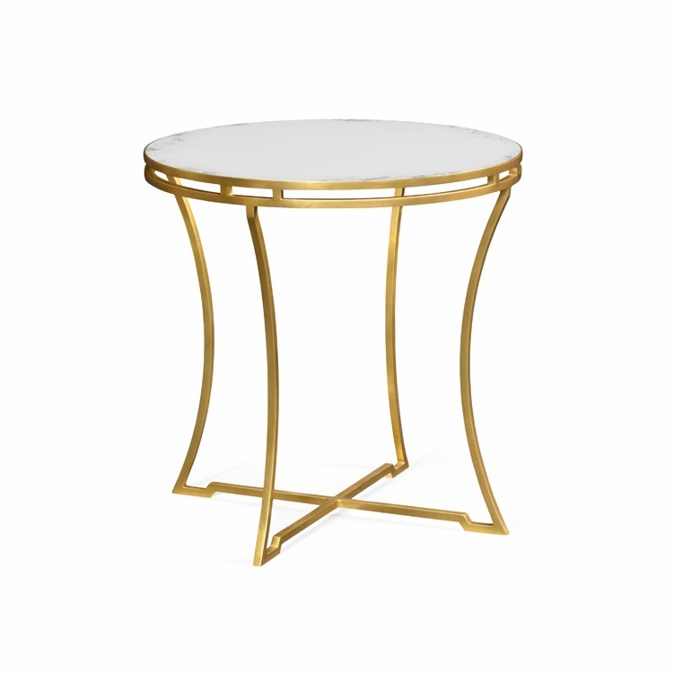Jonathan Charles Fine Furniture Simply Elegant Gilded Iron Round Side Table With An Antique Gl Top 491110 G Gam