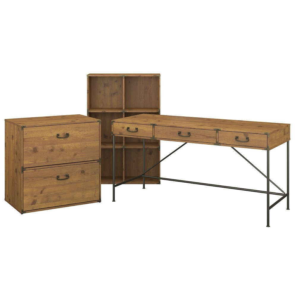 Kathy Ireland Home Ironworks Desk With 6 Cube Organizer And