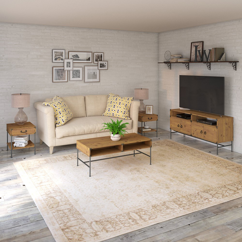 Kathy Ireland Home Ironworks Tv Stand With Coffee Table And 2 End Tables In Vintage Golden Pine Iw020vg