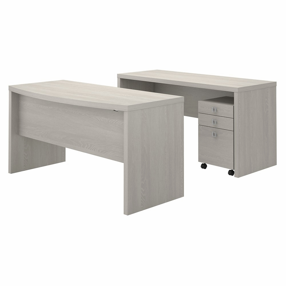 Kathy Ireland Office - Echo Bow Front Desk and Credenza with Mobile File  Cabinet in Gray Sand - ECH010GSSU