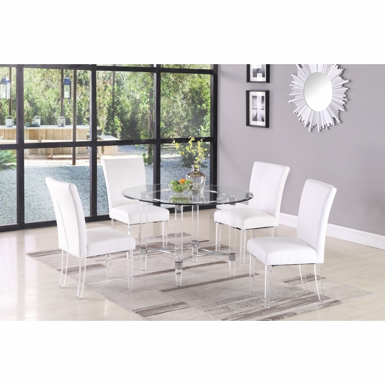 Chintaly - 5 Pieces Dining Set Table With 4 Chairs - 4038-5PC